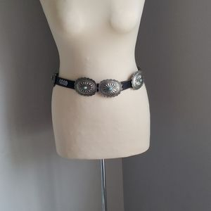 Vintage | Leather Belt with silver western